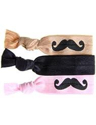 Twistband Moustache Elastiques Assortis x 3 Moustache Noire sur Rose/Noir Moustache Noire sur Beige