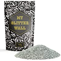 My Glitter Wall Purpurina para pintura de emulsión, 150g, decoración de pared ideal para interior y exterior, color plata