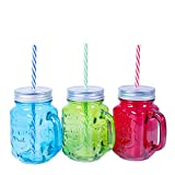 MASON JAR 3 PACK GLASS WITH METAL LID STRAW COLD DRINK SUMMER GIFT