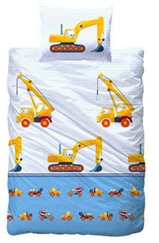 Aminata Kids - Kinderbettwäsche Bagger 100x135 cm / 40x60 cm - Jungen Bettwäsche Baustelle Baumaschinen- KINDERBETTGRÖßE