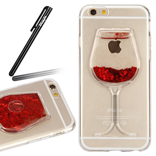iPhone 6S Case,iPhone 6 Case,Ukayfe Bling Glitter Soft Gel Clear TPU Case for iPhone 6/6 4.7 inch, 3D Funny Wineglass Shape Liquid Quicksand Glitter Sparkle Star Transparent Protective Shell Case Back Cover for iPhone 6S 2015 & iPhone 6 2014 (Red) Test