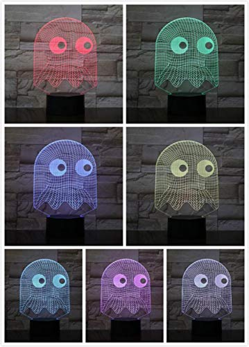 Spiel PAC Mann Nachtlicht LED 3D Schlafzimmer dekorative Lampe Illusion Kind Baby Kit Bl Clyde Ghost Cap Mann Lampe Tabelle 1 Arbeitszimmer Kind Schlafzimmer Wohnzimmer Pac Lighting Kit