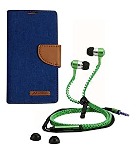 Aart Fancy Wallet Dairy Jeans Flip Case Cover for LenovoA-6000 (Blue) + Zipper Earphones/Hands free With Mic *Stylish Design* for all Mobiles- computers & laptops By Aart Store.