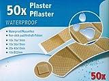 50x PFLASTER Set Wasserfest mit Antihaft-Polster Wundpflaster Pflasterset