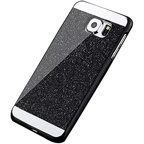 Brillante Glitter Funda pare Samsung Galaxy S7 Edge G9350 - Yihya Bling Crystal Case Cover Carcasa de Lujo de la caja del Rhinestone Crystal Diamond Resistente a Los Arañazos Bumper Shell - Negro
