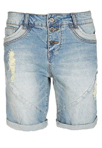 Fresh Made Boyfriend Jeans | Jeans-Shorts Used Look für Damen - Top Qualität und Tragekomfort dank hohem Baumwollanteil light-blue XS