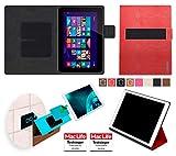 reboon Hülle für HP Omni 10 Tasche Cover Case Bumper | in Rot Leder | Testsieger