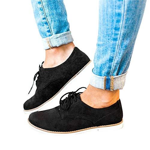 Sneaker Reaso Femmes Chaussures de Sport Bout Rond Couleur Unie Cheville Plat Suède Décontractée des Chaussures Jogging Fitness