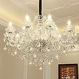 TingLiao Europäischen Kristall Kronleuchter Kerze Branch Hall Esszimmer Möbel Dekoration Lampen E14 Glas Lampe Spalte Energieeinsparung (größe : 15 Light)