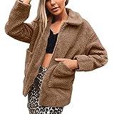 Sllowwa Damen Langarm Plüschjacke Rundhals Frauenkleidung warm Abschnitt Kunstpelz Kurzer Absatz Mantel klassisch Einfarbig Jacke weich Freizeit Mantel