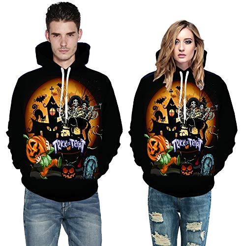 (Dasongff Damen Langarmshirt Halloween Kostüm Halloween Stil 3D Druck Hoodie Sweatshirt Sportpullover mit Tunnelzug Herren Damen Kapuzenpullover)