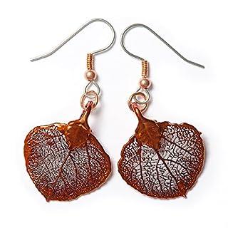Ohrringe im Blatt-Design, aus Kupfer, Aspen, Rot