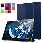 Lenovo Tab 2 A10-30F Funda, Vikoo Ultra Slim Ligera Smart-cáscara Cuero Case para Tableta TLenovo Tab 2 A10-30F Tablet PU Leather Cover Case - Azul Oscuro