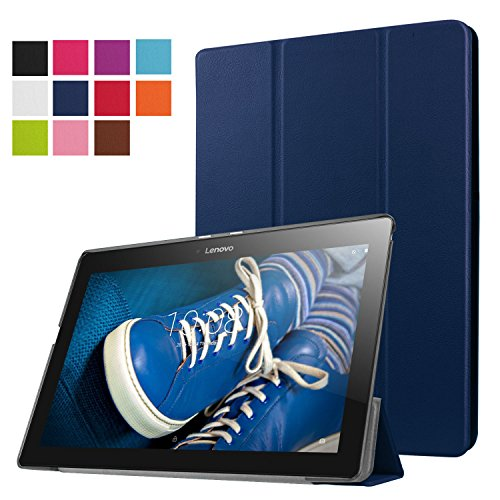 Lenovo Tab 2 A10-30F Funda, Vikoo Ultra Slim Ligera Smart-cáscara Cuero Case para Tableta TLenovo Tab 2 A10-30F Tablet PU Leather Cover Case - Azul