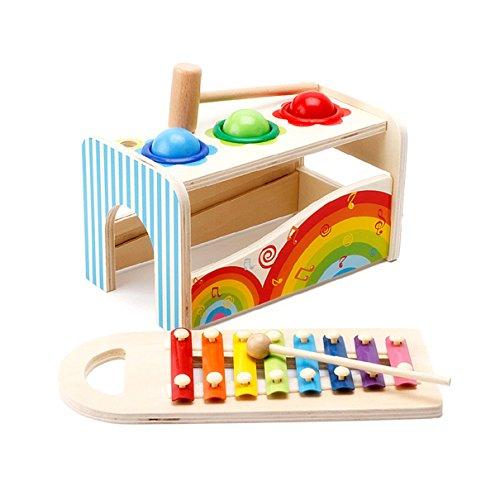 Holz Xylophon Kinder Kleinkinder Musikinstrumente Schlaginstrument Spielzeug mit Bunten Metalltasten Schlägeln Set Großes Geschenk für Baby Kleinkind