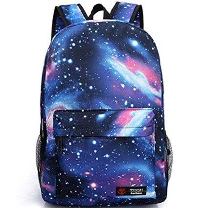 Neue heiße Verkauf Galaxy Rucksack unisex Schultasche Reisetasche (blue)