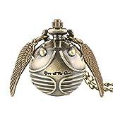 Harry Potter Reloj de Bolsillo de Cuarzo, Dorado, con Cadena de Collar, niños y niñas