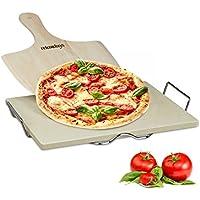 Relaxdays Pizzastein Set 1,5 cm Stärke mit Metallhalter und Pizzaschieber aus Holz HBT 1.5 x 38 x 30 cm rechteckiger Brotbackstein für Pizza und Flammkuchen mit Pizzaschaufel für Pizzaofen, natur