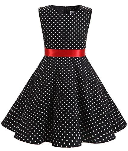 Kleine Schwarze Kleid Kinder (MUADRESS Mädchen Kleid Vintage Kinder Braumwolle 50 Jahre Blumenmädchenkleider Schwarz Kleine Weiß Punkte L)