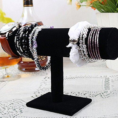 Soporte expositor de joyería para reloj, pulsera, joyero, expositor de una sola capa, terciopelo negro