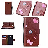 Sony Xperia M2 / M2 Case Leather, Ecoway 3D Fashion Handmade Bling Diamond Crystal Butterfly flower pattern PU Leather Stand Function Protective Cases Covers with Card Slot Holder Wallet Book Design Detachable Hand Strap for Sony Xperia M2 / M2 - brown