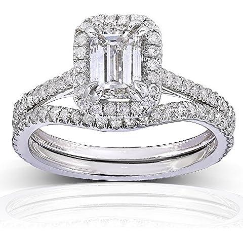 Halo, con smeraldo, taglio a diamante, da matrimonio, 1 1/2 carato (ctw) in oro bianco 14 k (2 pezzi)