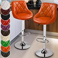 9879c93c7d7a Miadomodo® Bar Stools Set of 2 with Backrest Leatherette Exterior  Adjustable Swivel Gas Lift Chrome