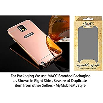 MACC Luxury Aluminium Bumper With Mirror Acrylic Back Cover For Samsung Galaxy Note 3  - ROSEGOLD