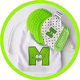 Gant de dentition pour bébé Mouthie Mitt vert ayant gagné des prix aux États-Unis, poursoulager la douleur, âge 3-12mois, protège mains du bébé de sa salive et de la mastication, sécuritaire, sangle réglable, lavable