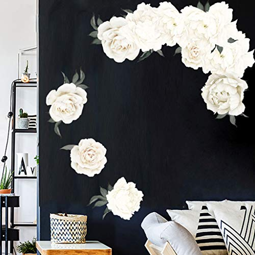 TianranRT❄ Wandaufkleber 3D,Pfingstrose Rose Blumen Aufkleber Wandkunst Aufkleber Kinderzimmer Kinderzimmer Dekoration Geschenk,Multicolor