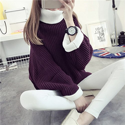 Smile YKK Pull Col Roulé Femme Tricoté Sweat-shirt Manches Longues Sweat Automne Hiver Mode Violet