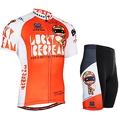 Cycling MTB Motorcycle Workout Orange Compression Sportwear Top & Pad Shorts Suit Short Sleeve Y59 XXXL
