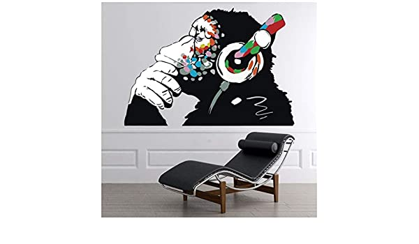 Thinking Monkey Headphones Banksy Wall Sticker WS-51325