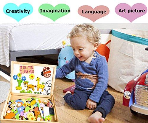 Puzzle-magnetico-legno-COOLJOY-giocattolo-di-legno-bambini-con-double-face-disegno-cavalletto-lavagna-apprendimento-educativo-per-bambini-3-4-5-anni-quasi-100-Pezzi