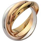 ISADY - Sofia Gold - Bague femme - Plaqué Or 750/000 (18 carats) - Argent 925 - Triple anneau Alliance Eternité Designer