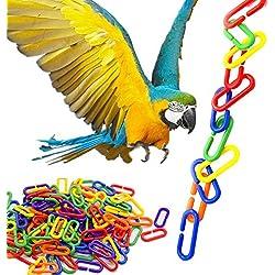Ruiqas 100 Piezas de Cadena de plástico de Colores, Juguetes de Bricolaje de Juguetes de Bricolaje de Aves de Loro, Accesorios de Jaula de Loros (se Pueden unir a la Jaula)