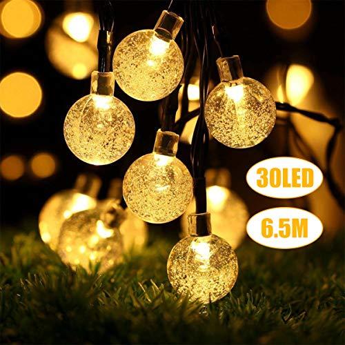 Lichterkette Außen, LED Solar Lichterkette 30 Warmweiß Kristall Kugel 6,5 Meter, Außerlichterkette Deko für Garten, Bäume, Terrasse, Weihnachten, Hochzeiten, Partys, Innen 100ma Flexible Solar Panel