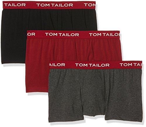 TOM TAILOR Herren Retroshorts, 3er Pack Rot (black-red-melange 9328)