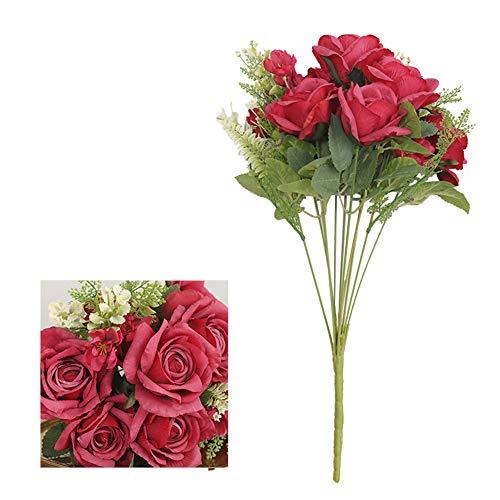 Ssowun 1 Stück Künstlicher Blumenstrauss Rose 1 Bouquets 11 Köpfe Blumen, Hochzeit Blume Vintage Rose Seidenblumen Blumenstrauß für Küche Hochzeit Herzstück Garten Party Decor (Herzstück Rose Rote)