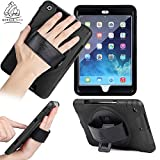 Apple iPad Air 2 Gorilla Tech iPad Survivor Case with Hand Strap and Kick Stand one Hand Use Full Protection -Color: Black