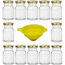 Viva-Haushaltswaren - Juego de 12 tarros de especias de cristal (150 ml, cierre de rosca, incluye embudo)