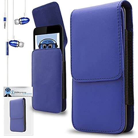 Blue PU Leather Vertical Side Pouch Case Cover Holster with Belt Loop Clip, Blue 3.5mm Aluminium High Quality In Ear Stereo Wired Headphones with Built in Mic Sony Xperia XZ