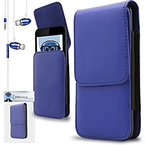 iTALKonline HTC Cha Cha ChaCha Blue PREMIUM PU Leather Vertical Executive Side Pouch Case Cover Holster with Belt Loop Clip and Magnetic Closure Includes Blue Premium 3.5mm Aluminium High Quality In Ear Stereo Wired Headset Hands Free Headphones with Built in Mic Microphone and On Off Button