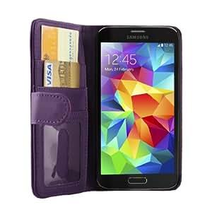 iProtect Samsung Galaxy S5 Schutzhülle Book Style Kunstleder S 5 Premium Wallet Case mit Ausweis Fach lila