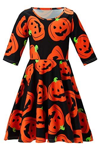 Funnycokid Mädchen Kleid Halloween Cartoon Drucken Kleider Kleider Dreiviertel-Ärmel Lässig Kostüme Kleider