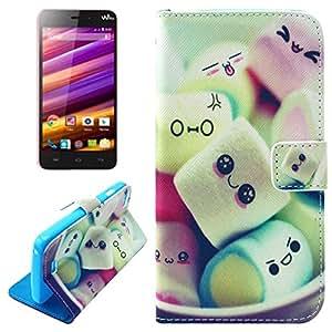 König-shop étui de protection pour téléphone mobile wiko lenny etui housse coque cover etui coque housse coque étui portefeuille à rabat en cuir synthétique pour téléphone portable marshmallow