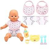 Miunana 9 Accessori per 14-16 Pollici Bambolotti Bambole Baby Dolls = 2 Pannolini + 2 Fazzoletti + 5 Accessori (Biberon + Capezzolo + Piatto + Forchetta +Cucchiaio)