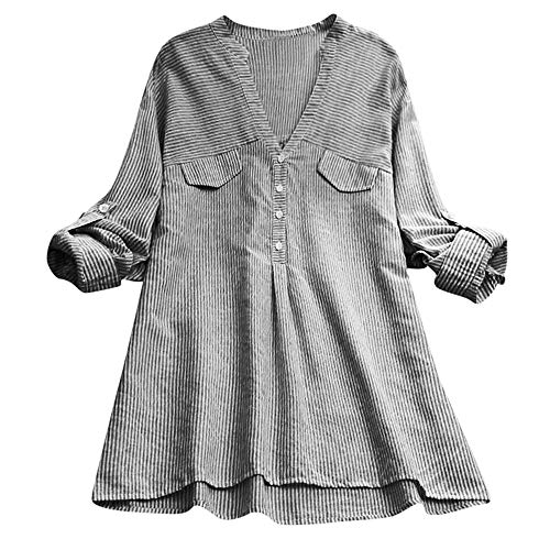 Damen Oberteile MYMYG Damenmode Streifen Hemd Gespleißt Pocket Bluse V-Ausschnitt Langarmshirts Herbst und Winter Sweatshirt(Schwarz,EU:38/CN-L) -