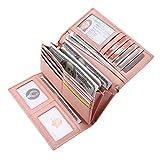 Geldbörse Damen Leder Rfid Geldbörse Brieftasche Lang Handy Geldbeutel Frauen Rosa