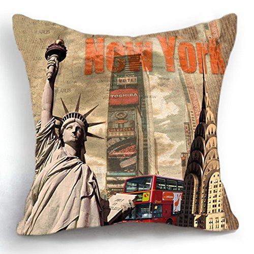 telisha Retro Style New York Freiheitsstatue Haus Dekoration Werfen Kissenbezug Kopfkissenbezug Sham 45 cm - New York Werfen